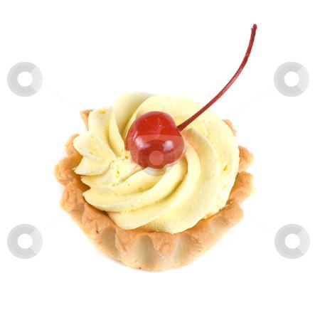 Cupcake stock photo, fresh baked cherry cupcake isolated on white and cherry by olinchuk