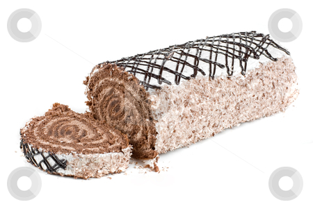 Chocolate Swiss roll stock photo, Chocolate Swiss roll closeup isolated on a white background by olinchuk