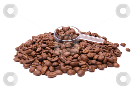 Coffee beans stock photo, coffee beans with spoon on a white background by olinchuk