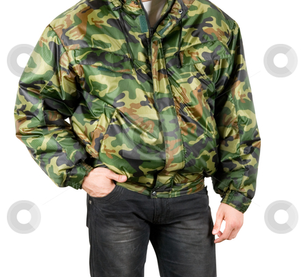 Camouflage stock photo, camouflage man closeup isolated on a white by olinchuk