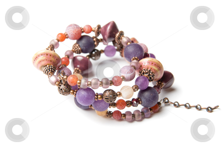 Bracelet stock photo, bracelet with color gems isolated on a white background by olinchuk