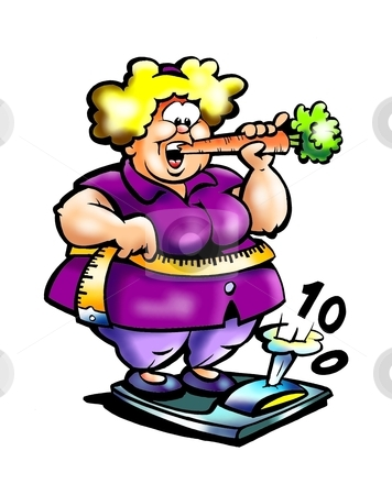 Fat lady who eats carrot to lose weight  stock photo, Fat lady who eats carrot to lose weight  by DrawShop - Poul Carlsen