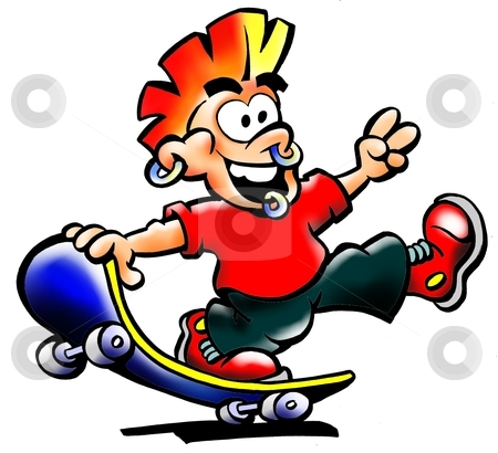 Street Punk in red t-shirt with his skateboard  stock photo, Street Punk in red t-shirt with his skateboard  by DrawShop - Poul Carlsen