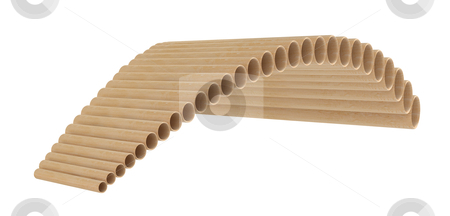 Pan flute stock photo, Pan flute or pan pipe, panflute isolated on white background by Nmorozova