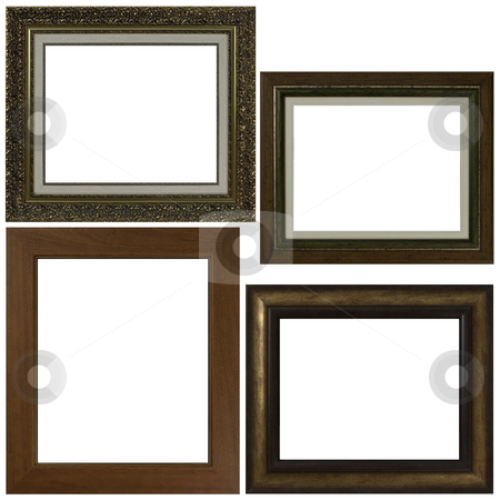 Four antique picture frames stock photo, Four antique picture frames isolated on white background. by Homydesign