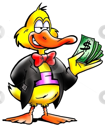 Rich Duck holding alot of dollars  stock photo, Rich Duck holding alot of dollars  by DrawShop - Poul Carlsen