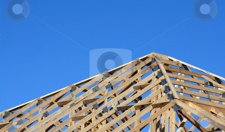 Wood Beam Roof stock photo, The wood beams of a new homes roof.  by Chris Hill