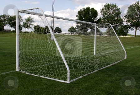 View from Behind the Net stock photo, A view from behind the net on a soccer pitch. by Chris Hill