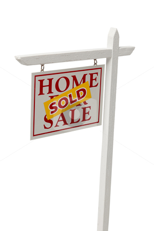 Sold For Sale Real Estate Sign on White with Clipping stock photo, Red Sold For Sale Real Estate Sign Isolated on a White Background with Clipping Path. by Andy Dean
