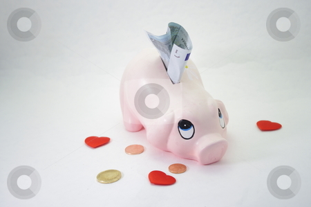 Piggy bank moneybox with euro currency money stock photo, isolated piggy bank moneybox with euro currency money by JelenaKa7