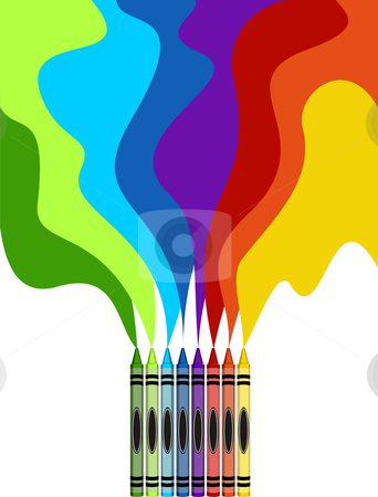 Large colored crayons drawing a rainbow art stock photo, Eight colorful crayons and rainbow drawing isolated on white background by Cienpies Design