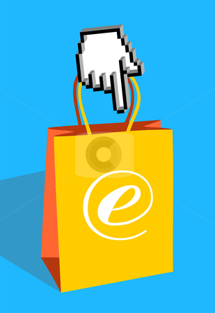 E-bag stock photo, Icon hand pointing an e-commerce bag  by Cienpies Design