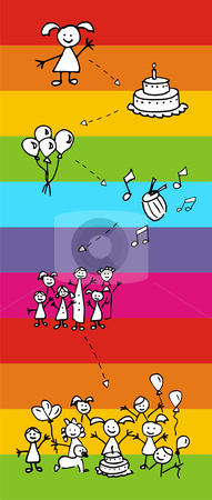 Happy birthday happiness: friendly characters stock photo, Happy birthday happiness and fun sequence. Friendly cartoon characters. Vector file also available. by Cienpies Design