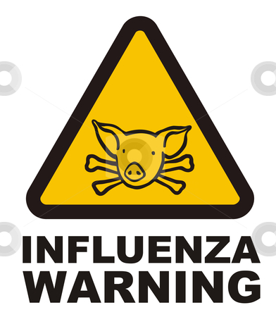 Warnig swine flu sign stock photo, Illustration of a warning swine flu sign. Vector file also available. by Cienpies Design