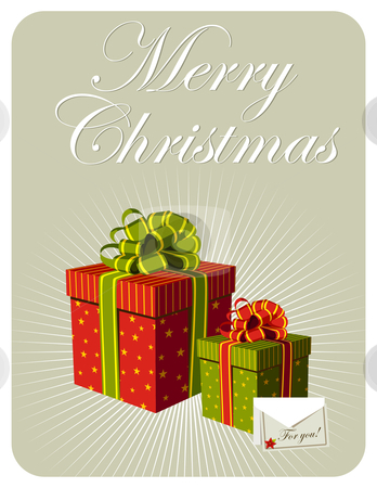 Christmas gifts boxes stock photo, Gifts boxes and card with Christmas flower. Vector file also available. by Cienpies Design
