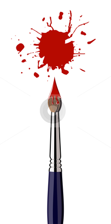 Paint brush with red color splash stock photo, Single paint brush with red splattered paint. White background. Vector file also available. by Cienpies Design