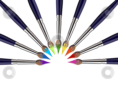 Semicircle of Paint brushes with colors stock photo, Nine brushes with paint color tips toward the center, forming a semicircle. White background. Vector file also available. by Cienpies Design