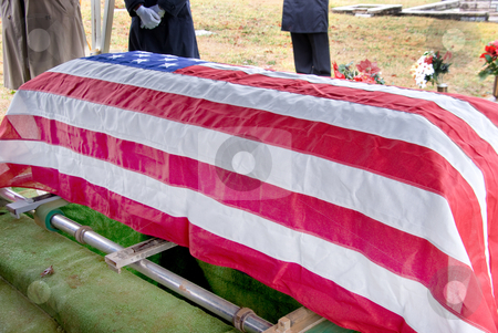 Flag Draped Coffin stock photo, A Flag Draped Coffin at a military funeral. by Robert Byron