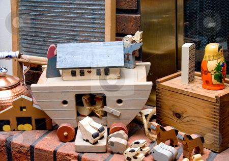 Antique Toys stock photo, Noahs Ark Toys on a fireplace hearth. by Robert Byron