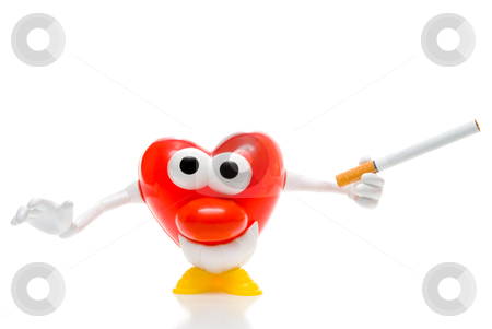 Smoking Heart stock photo, A smiling heart holding a tobacco cigarette. by Robert Byron