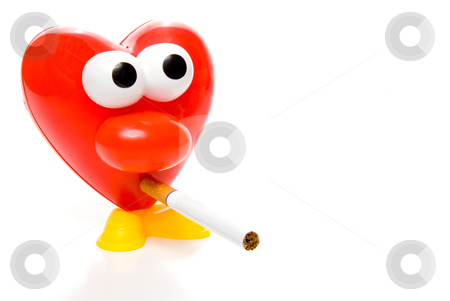 Smoking Heart stock photo, A red heart smoking a tobacco cigarette. by Robert Byron