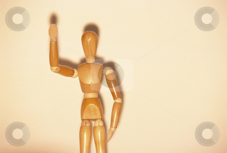 Wooden Mannequin Waving stock photo, Artists mannequin waving, concept photography by Bryan Mullennix