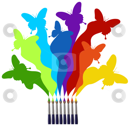 Paint brushes and colored butterflies rainbow stock photo, Eight paint brushes drawing a colorful rainbow of a butterfly swarm.  White background by Cienpies Design
