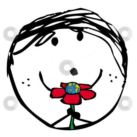 Happy green child stock photo, naif drawing of a kid smiling holding the earth planet inside a flower by Cienpies Design