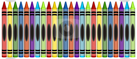 Group of Colorful Large Crayons stock photo, Group of 24 colorful crayons isolated on white background by Cienpies Design