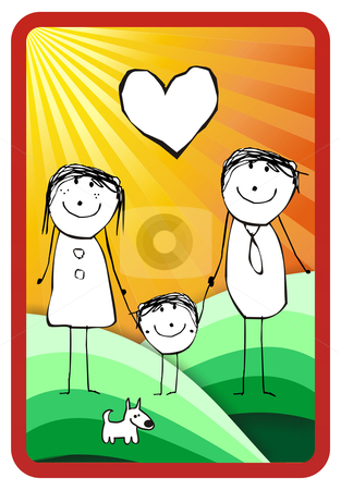 Colorful happy family illustration stock photo, hand writting illustration of a happy family of three and their dog. Vector format available by Cienpies Design