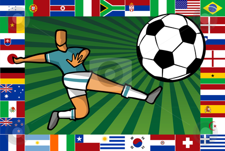 Championship South Africa soccer cup poster stock photo, Background composition with soccer player shooting a ball sorrounded by countries flags which play the South Africa World Cup. by Cienpies Design