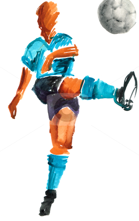 Watercolor painted soccer player stock photo, Shooting soccer player wearing a blue ligth t-shirt. Watercolor painted hand made drawing over white background. by Cienpies Design