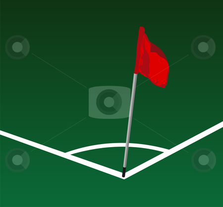 Corner Soccer field  stock photo, Soccer field corner with flying red flag by Cienpies Design