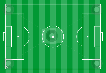 Soccer field from above stock photo, Top view of a soccer field. Useful for planning soccer strategies. by Cienpies Design