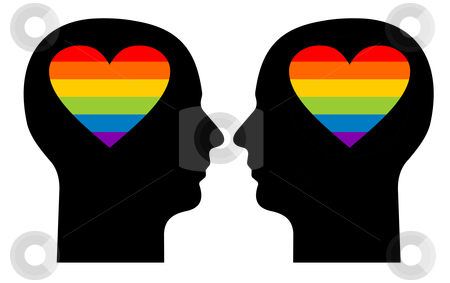 Gay love stock photo, Silhouettes of a gay couple with colorfull hearts in their heads by Cienpies Design
