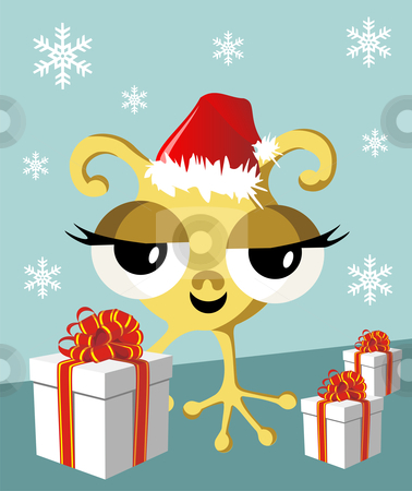 Christmas Funny Santa Character stock photo, Christmas Funny Santa Character on a Snowballs Background by Cienpies Design