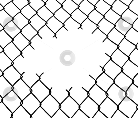 Cut wire fence stock photo, Cut wire fence. White background. Vector available by Cienpies Design
