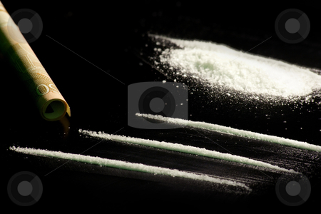 Cocaine and banknote ready to be used stock photo, Cocaine and banknote ready to be used by Tahoo