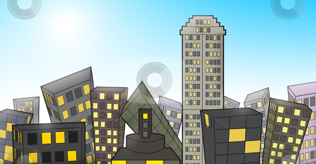 Buildings During Day stock photo, An illustration of an abstract city landscape of buildings during the day time. The file format is provided in jpeg format. by Masterkirkby