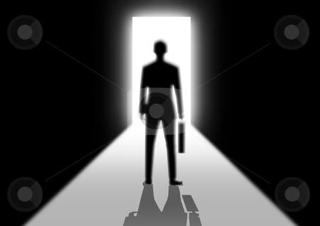 Bright Future stock photo, Silhouette of man with suitcase walking toward a bright window by rudall30