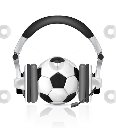 Soccer concept stock photo, soccer concept, ball in headphones, as commentator on white background by sermax55