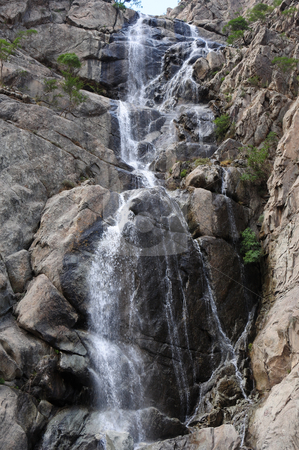 Waterfall stock photo, Landscape of waterfall in the mountains by John Young