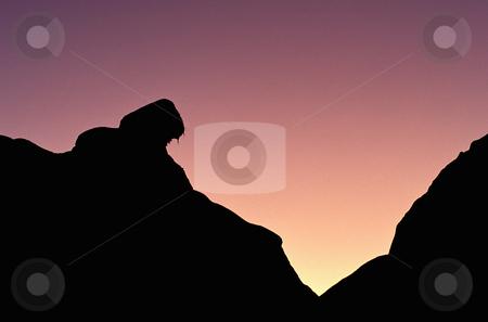 Rock silhouette at sunset stock photo, Silhouette of rocks at sunset, nature stock photography by Bryan Mullennix