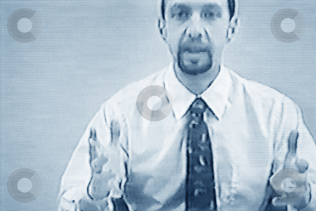 Businessman teleconferencing, concept photography stock photo, Video still of businessman teleconferencing, concept photography, model released by Bryan Mullennix