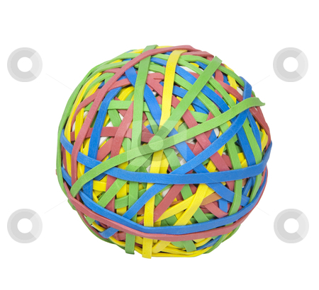 Ball of Rubber Bands - Photo Object  stock photo, Multi-colored ball of rubber bands, includes clipping path by Bryan Mullennix