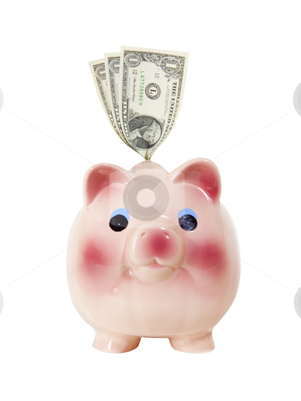 Piggy Bank with Money - Photo Object stock photo, Piggy bank with money. Includes clipping path. by Bryan Mullennix