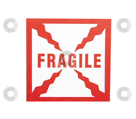 Fragile Sticker - Photo Object stock photo, Fragile Sticker, with clipping path included by Bryan Mullennix