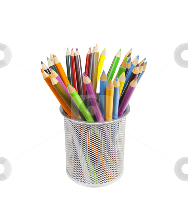 Colored Pencils - Photo Object stock photo, Cup full of colored pencils, with clipping path included by Bryan Mullennix