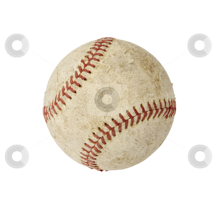Baseball - Photo Object stock photo, Beat up old baseball, with clipping path by Bryan Mullennix