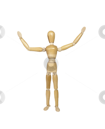 Mannequin - Photo Object stock photo, Artists mannequin with arms up, includes clipping path by Bryan Mullennix